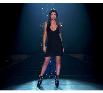 dress selena gomez black dress boots music video shoes