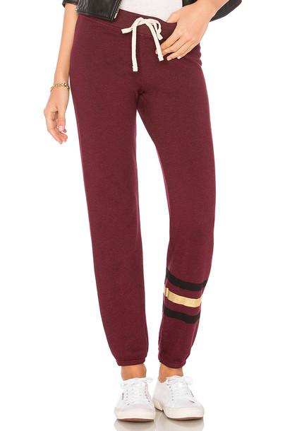 SUNDRY sweatpants stripes burgundy pants