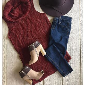 sweater sleeveless sweater burgundy burgundy sweater peep toe boots brown floppy hat hippster boho fall outfits oversized sweater knits cute sweater boutiques divergence clothing wine cowl neck sweater sleeveless