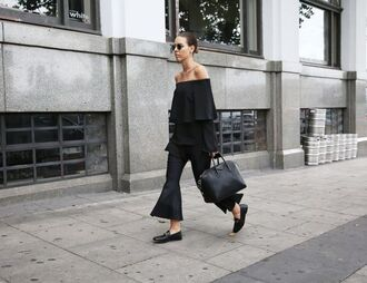 pants kick flare black pants ruffled top black top top off the shoulder top off the shoulder bag black bag loafers gucci black shoes all black everything sunglasses givenchy bag