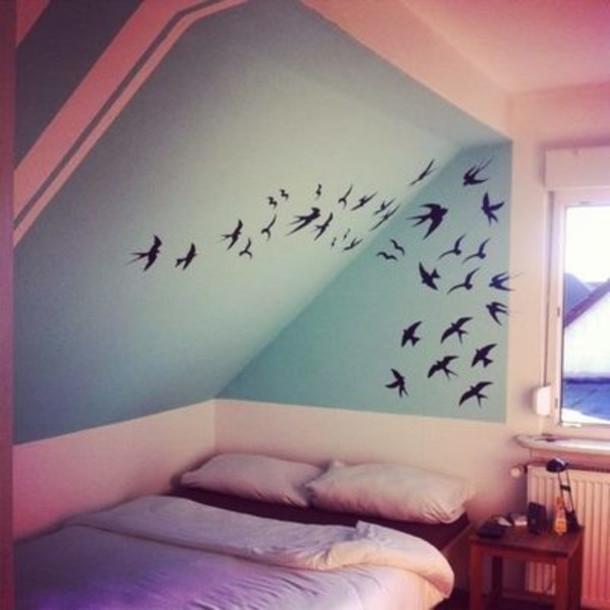 Bag birds decoration bedroom home decor wheretoget for Bird decorations for home