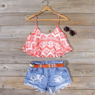blouse shirt crop tops belt leather accessories denim high waisted shorts jeans denim shorts aztec belts leather belts shorts tribal pattern high waisted denim shorts aztec crop top summer summer outfits summer glasses sunnies tank top pattern orange white print pants sunglasses