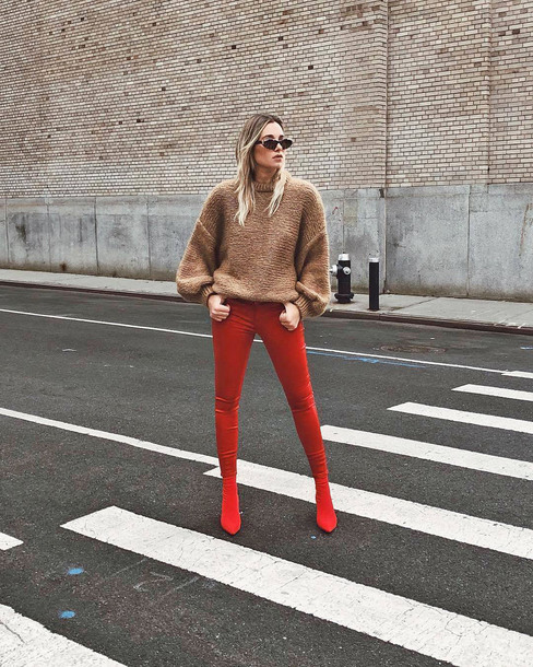 jeans tumblr red jeans boots red boots sweater knit knitwear knitted sweater sunglasses danielle bernstein