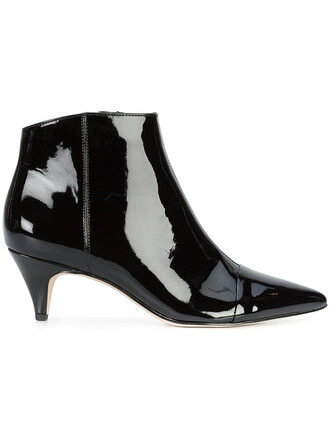pointed boots women leather black shoes