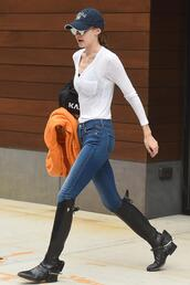 shoes,boots,jeans,top,cap,gigi hadid,model off-duty,streetstyle