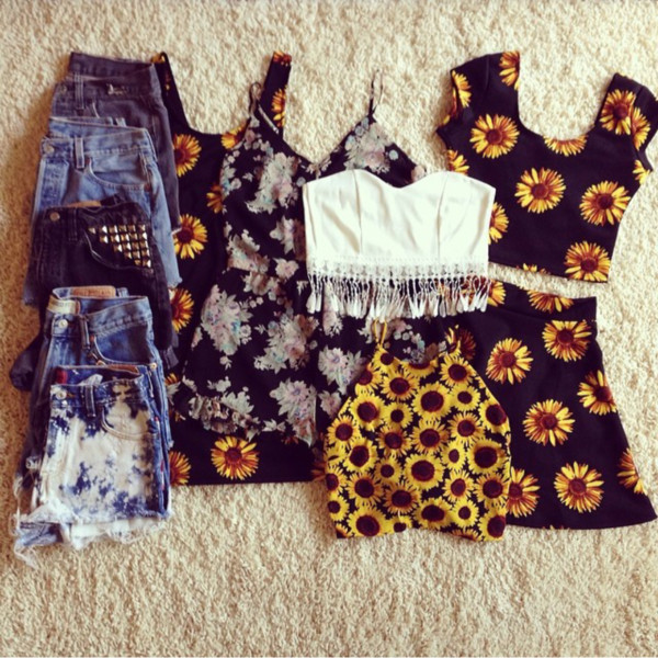 shirt daisy fringes floral dress sunflower flowers black yellow summer shorts skirt top crop tops skater skirt
