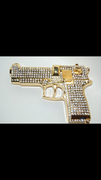 jewels gun gold gold gun rhinestone gold and diamond gold and diamond gun diamond bling bad swag