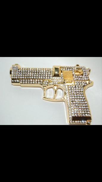 jewels gun gold gold gun rhinestones gold and diamond gold and diamond gun diamonds bling bad swag