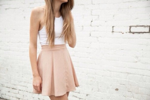 skirt nude high heels white crop tops