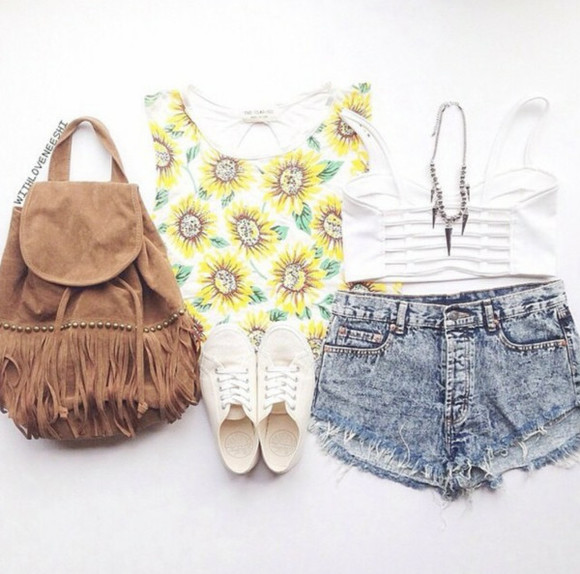 sunflower High waisted shorts socute jeanshorts iwantit whitesneakers backpack