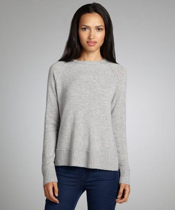 Magaschoni grey cashmere scoop neck hi-low hem sweater | BLUEFLY up to 70% off designer brands