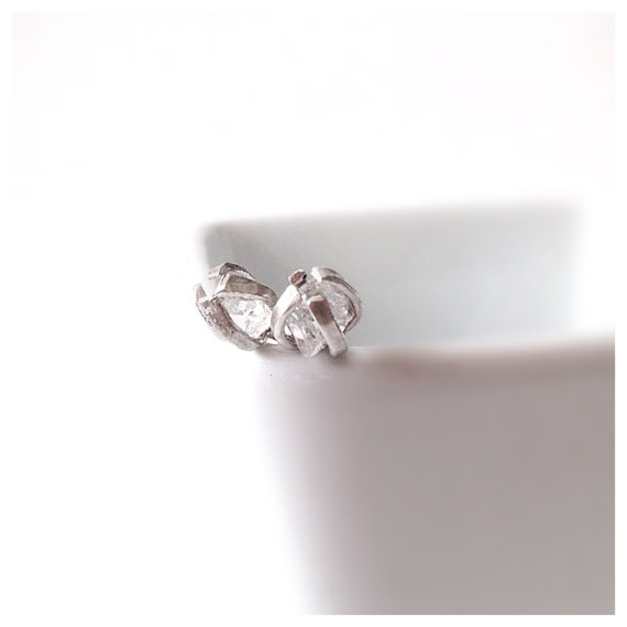 White Diamond Stud Silver Earrings April by camilaestrella on Etsy