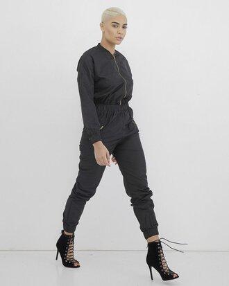 jumpsuit black black jumpsuit long sleeve jumpsuit cargo jumpsuit long sleeves