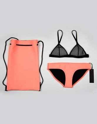 swimwear coral black bikini summer