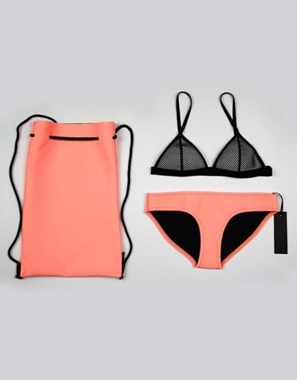 swimwear coral black bikini summer orang white cute bikini top bikini bottoms pink pattern fashion style tumblr boho black bikini pink bikini triangle bikini