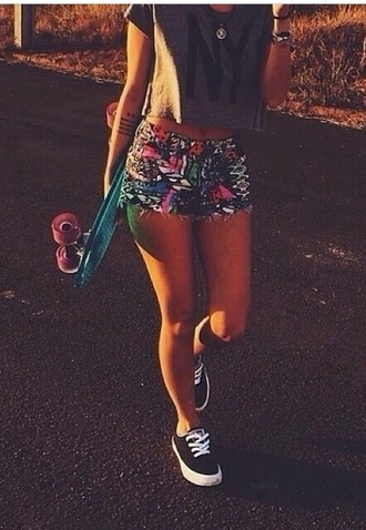 shorts funny penny board scateboard cute cool pattern bohemian denim shorts colorful multicolor bottoms tight bottom