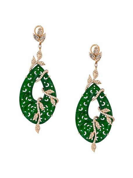 Gemco women earrings gold green jewels