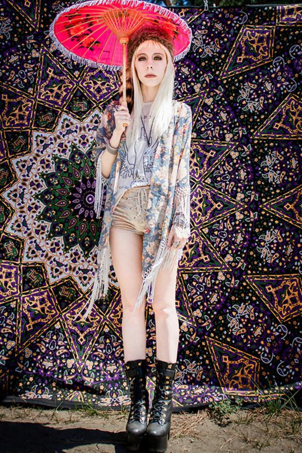 jacket kimono floral gree blue fringes summer bohemian boho cardigan grunde shirt