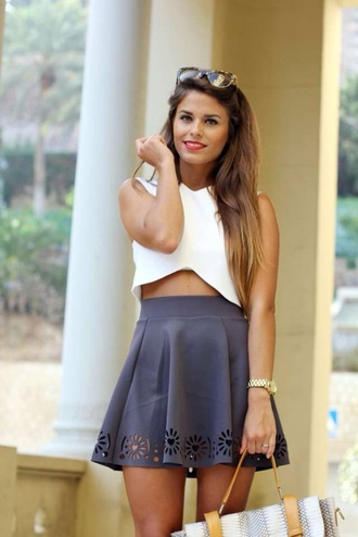 tank top crop tops white skirt sunglasses black skirt skater skirt leather skirt cutout skirt summer skirt