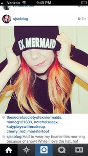 hat,beanie,instagram,mermaid,grunge,90s style,nirvana,cute,mermaidhair,indie,boho