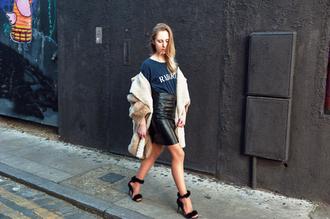 alice point blogger t-shirt black heels high waisted skirt leather skirt