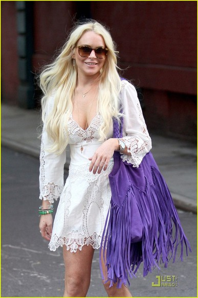 lindsay lohan white dress lace dress