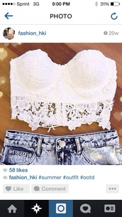 top,white bottom lace,High waisted shorts