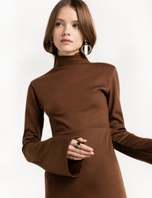 dress,brown mock neck midi dress,mock neck dress,winter dress,mock neck dresses,brown dress,holiday dress,winter outfits