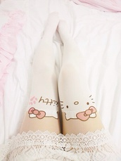 pants,tights,hello kitty,white,cute,cats,jeans,leggings,legslit,kawaii