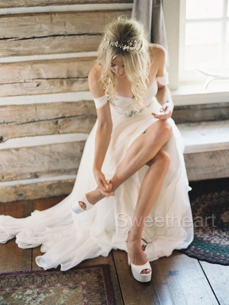 dress white chiffon country style wedding dress