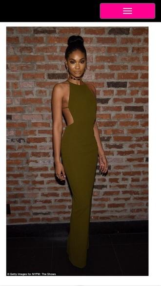 dress chanel iman olive green halter dress