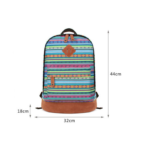 [grhmf22000186]folk style floral print mixing color leisure canvas backpack