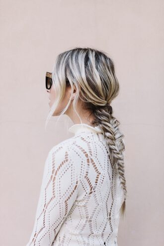 hair accessory tumblr hairstyles braid blonde hair sunglasses top white top white lace top lace top
