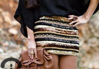 glitter golden skirt skirt sequins gold bronze brown cream striped skirt fall outfits bag party metallic