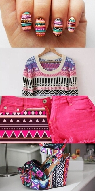 pink shorts sweater shoes black shirt purple aztec white tribal pattern indian ethnic ethnic print knit knitwear knitted sweater pull pullover low indian print