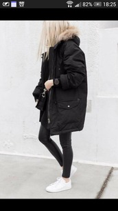 coat,black parka,black,parka,winter jacket,white sneakers,jacket,black jacket,winter outfits,wintejacket,style,street,cold,girl,fur,faux fur coat