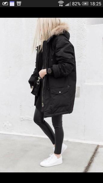 coat black parka black parka winter jacket white sneakers