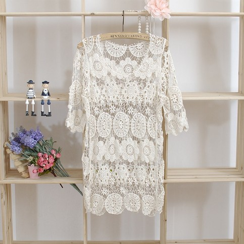 Outletpad | Lace Embroidered Flower Crochet pullover Casual shirt blouse tops | Online Store Powered by Storenvy