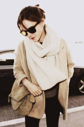 emma watson coat jacket brown cardigan cream scarf leather bag black light brown blazer oversized scarf