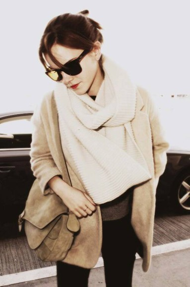 emma watson cardigan jacket cream coat brown scarf leather bag black light brown blazer oversized scarf