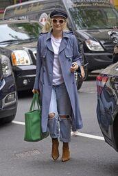 coat,jeans,hat,diane kruger,streetstyle,celebrity,bag