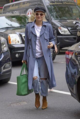 coat jeans hat diane kruger streetstyle celebrity bag