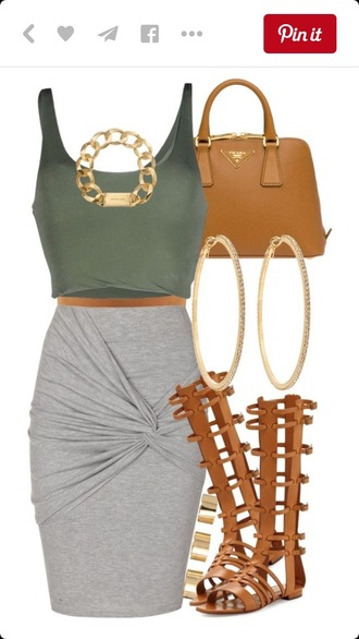 skirt grey skirt green crop top