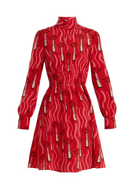 Valentino dress print silk red