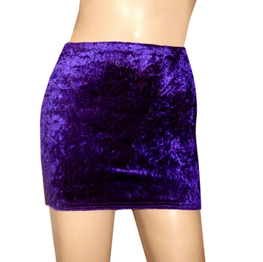 SIZE 18-20 PURPLE CRUSHED VELVET STRETCH PULL ON MICRO MINI SKIRT DANCER GOTH | eBay