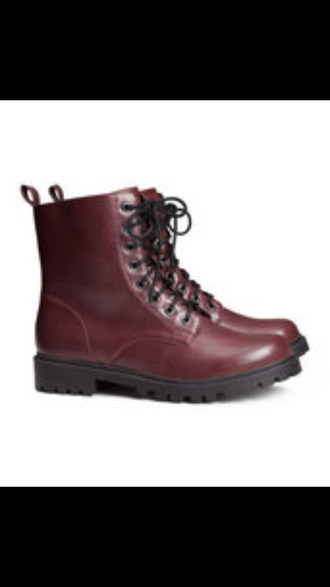shoes dark red combat boots please!!