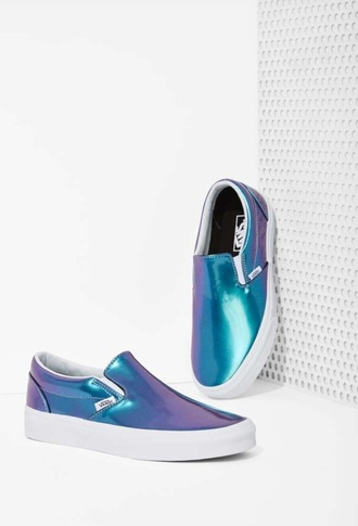 shoes vans blue pearlescent slip on shoes iridescent blue shoes metallic shoes style laminated shimmer slip-on cute shoes
