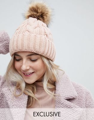 My Accessories Pink Pom Beanie at asos.com