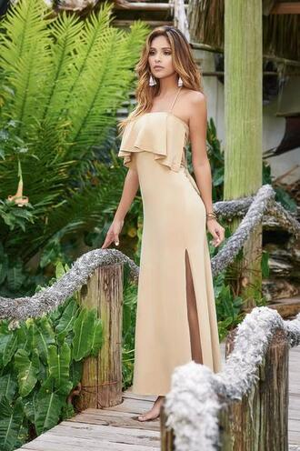 dress ruffle details slits on the sides mapalé strapless adjustables straps bikiniluxe