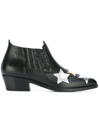 women boots ankle boots leather black stars shoes